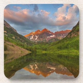 Maroon Bells Reflect Into Calm Maroon Lake 2 Drink Coaster