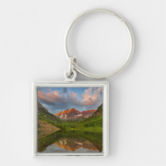 Maroon Bells Reflect Into Calm Maroon Lake 2 Keychain