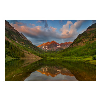 Maroon Bells Reflect Into Calm Maroon Lake 2 Poster