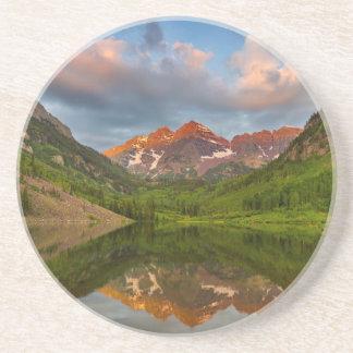 Maroon Bells Reflect Into Calm Maroon Lake 2 Sandstone Coaster
