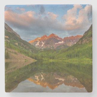 Maroon Bells Reflect Into Calm Maroon Lake 2 Stone Coaster