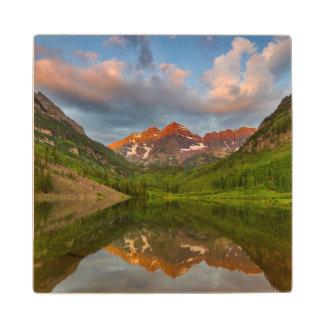 Maroon Bells Reflect Into Calm Maroon Lake 2 Wooden Coaster
