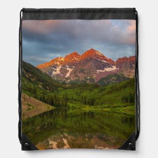 Maroon Bells Reflect Into Calm Maroon Lake 3 Drawstring Bag