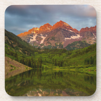Maroon Bells Reflect Into Calm Maroon Lake 3 Drink Coaster