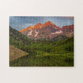Maroon Bells Reflect Into Calm Maroon Lake 3 Jigsaw Puzzle