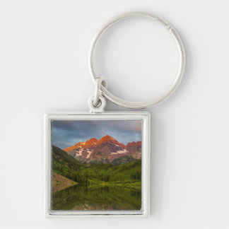 Maroon Bells Reflect Into Calm Maroon Lake 3 Keychain