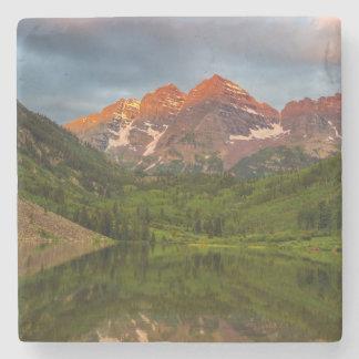 Maroon Bells Reflect Into Calm Maroon Lake 3 Stone Coaster
