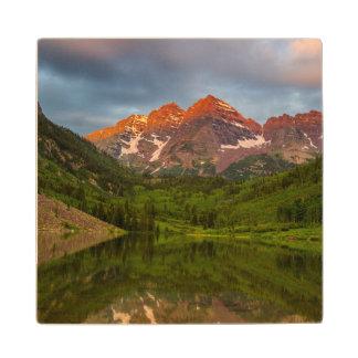 Maroon Bells Reflect Into Calm Maroon Lake 3 Wood Coaster