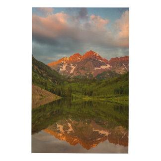 Maroon Bells Reflect Into Calm Maroon Lake 3 Wood Print
