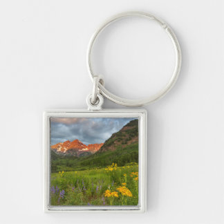 Maroon Bells Reflect Into Calm Maroon Lake Keychain