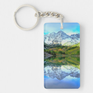 Maroon Bells reflecting in Maroon Lake Keychain