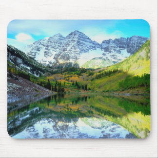 Maroon Bells reflecting in Maroon Lake Mouse Pad