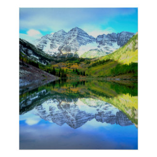Maroon Bells reflecting in Maroon Lake Poster