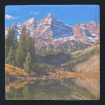 """Maroon Bells Stone Coaster<br><div class=""""desc"""">Beautiful autumn morning at Maroon Bells State</div>"""