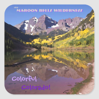 Maroon Bells Vintage Style Square Sticker