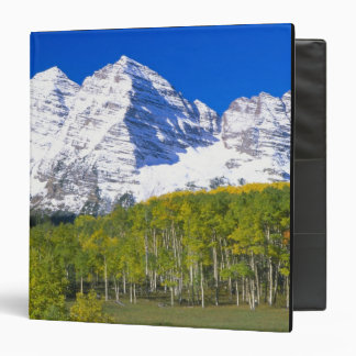 Maroon Bells with autumn aspen forest. 3 Ring Binder