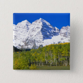Maroon Bells with autumn aspen forest. Button