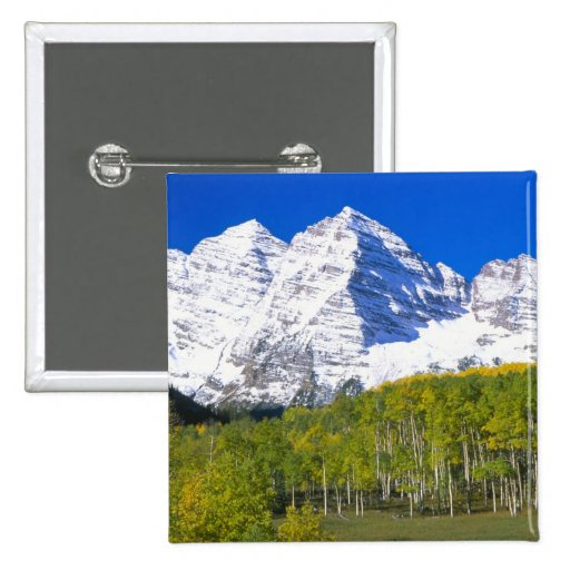 Maroon Bells with autumn aspen forest. 2 Inch Square Button