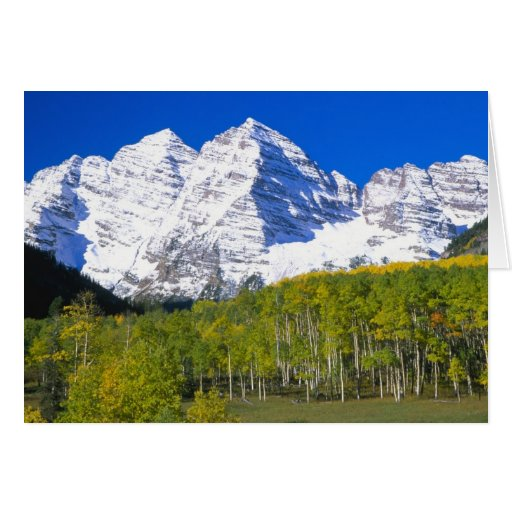 Maroon Bells with autumn aspen forest. Greeting Card