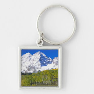 Maroon Bells with autumn aspen forest. Keychain