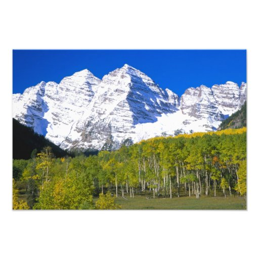 Maroon Bells with autumn aspen forest. Photo Print