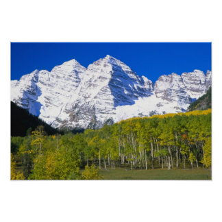 Maroon Bells with autumn aspen forest Print