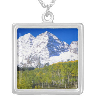 Maroon Bells with autumn aspen forest. Silver Plated Necklace