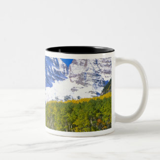 Maroon Bells with autumn aspen forest. Two-Tone Coffee Mug