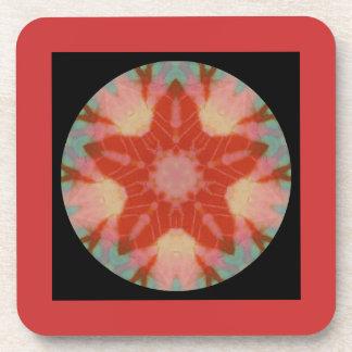 Maroon Black Fractal Mandala Star Drink Coasters