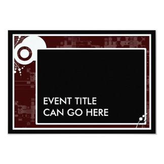 maroon block scheme 3.5x5 paper invitation card