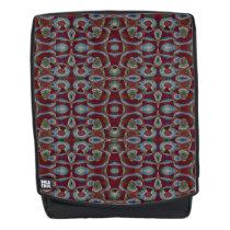 Maroon Blue Mosaic Pattern Backpack