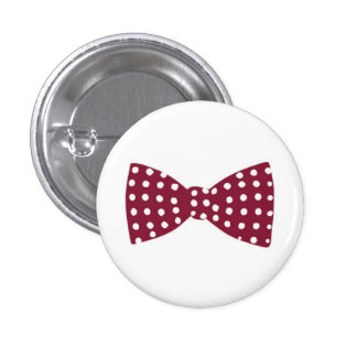 Maroon Bow Tie with White Polka Dots Button