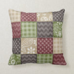 Maroon, Brown, Tan, & Green Quilt Look Pillows