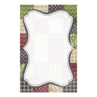 Maroon, Brown, Tan, & Green Quilt Look Stationery