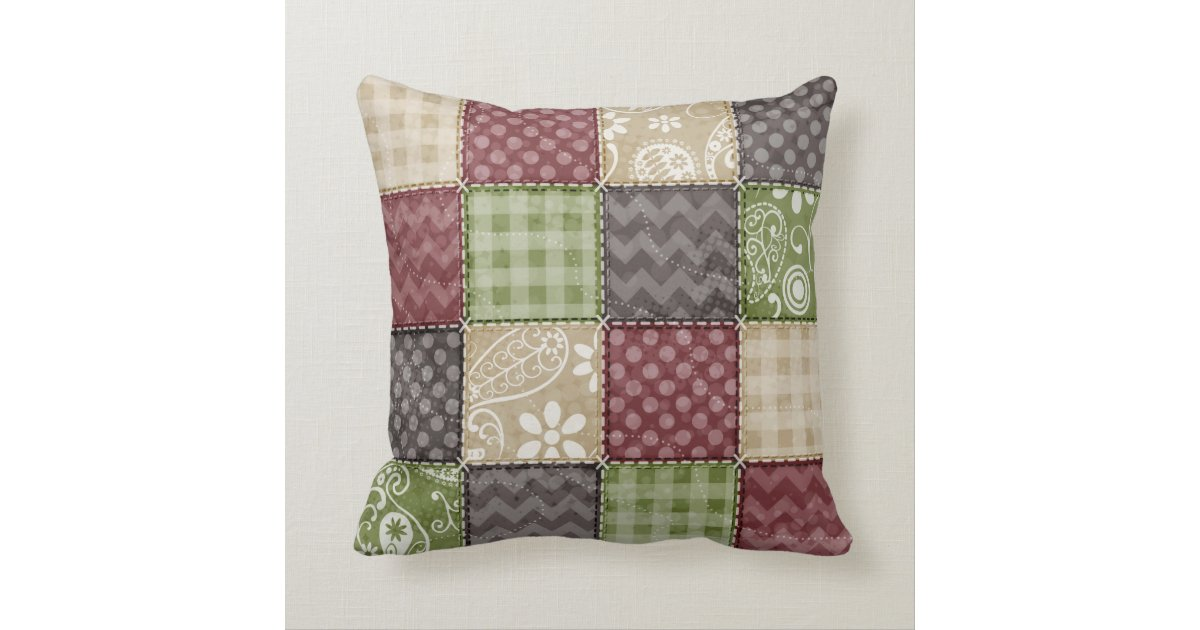 Throw Pillows Green And Brown : Maroon, Brown, Tan, & Green Quilt Look Throw Pillow Zazzle