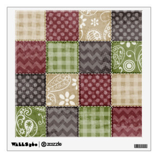 Maroon, Brown, Tan, & Green Quilt Look Wall Decal