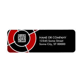 maroon bullseye QR code Label