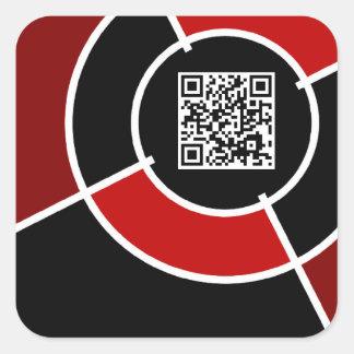 maroon bullseye QR code Square Sticker