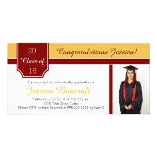 Maroon Burgundy Gold Photo Graduation Party Invite Custom Photo Card
