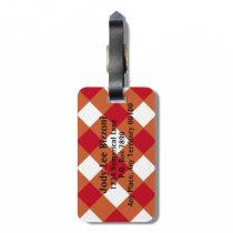 Maroon Burnt Orange and White-Checked Bag Tag