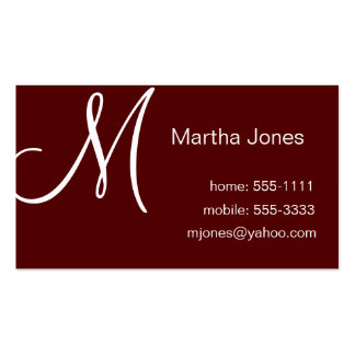 Maroon Business Cards with Monogram (#BUS 031)