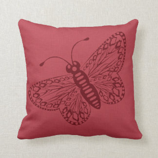 Maroon Butterfly Throw Pillows