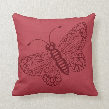 Maroon Butterfly Pillow