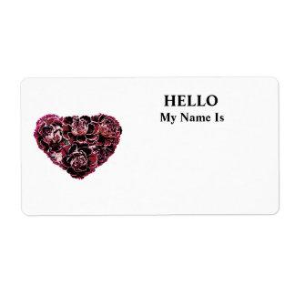 Maroon Carnation Heart Label