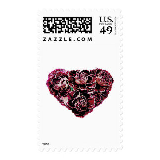 Maroon Carnation Heart Postage