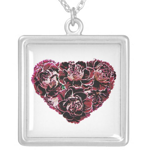 Maroon Carnation Heart Square Pendant Necklace