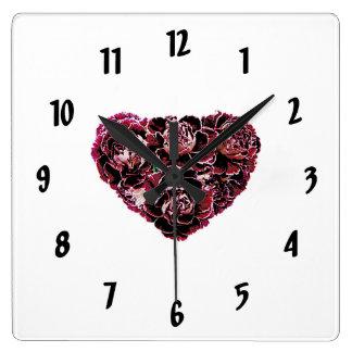 Maroon Carnation Heart Square Wall Clock