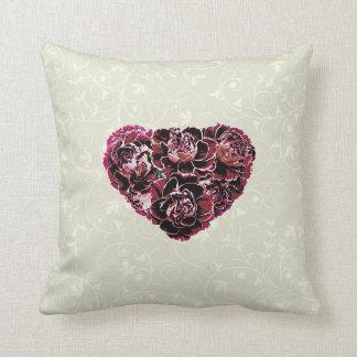 Maroon Carnation Heart Throw Pillow