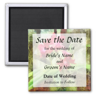 Maroon Cattleya Orchids Save the Date 2 Inch Square Magnet