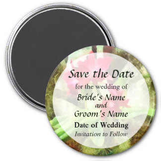 Maroon Cattleya Orchids Save the Date 3 Inch Round Magnet
